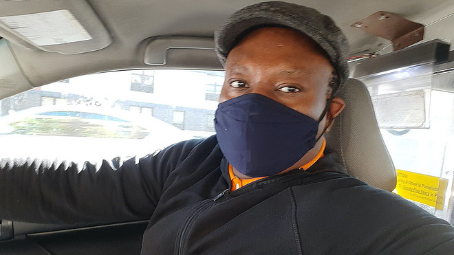 Cab Driver Wearing COVID-19 Mask during Corona Virus Lockdown Johannesburg